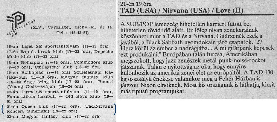 Nirvana TAD Budapest 1989
